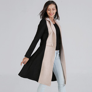 Women's Autumn Trench Coat 2020 New Fashion Temperament Office Ladies Double-sided Woolen Coat Contrast Color Coats For Femme T200814