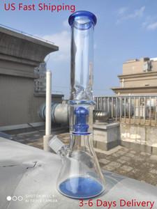 15 pouces 37cm Narguilé pipe à eau Champignon bleu Filtre en verre Bong barboteur Waterpipe US Livraison