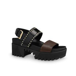 Zapatos Señora Nobel Plataforma sandalias zapatos de diseño esmaltado Becerro Leathe de patente mujeres de la lona del partido del vestido de la sandalia de la plataforma del tacón alto con la caja