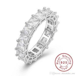 925 GÜMÜŞ PAVE Asscher tam bir kare Simüle elmas CZ ETERNITY bant geçişi Wedding Taş halkalar Boyutu 5,6,7,8,9,10 kesilmiş