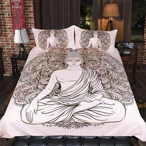Mandala Buddha Series Bedding Set Buddhist Bedding Flash Golden Buddha Statue Design Home Bedroom Decoration