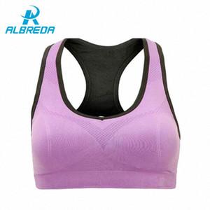 Albreda Professional Binand Correndo Yoga Sports Bra Até à prova de choque Wirefree Top Curto Gym profissional da aptidão Racerback Vest aJzv #