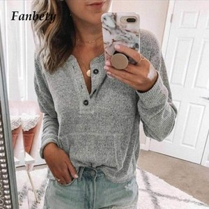 Fanbety mujeres otoño manga larga botón costilla blusa elegante 2020 invierno casual color sólido camisa básica blusas dama plus size tops tops