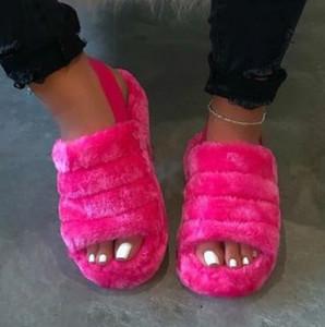 Mujer peluda por diapositivas zapatillas de interior Mujer fluffy flip chapls damas home hembra plana zapatos chanclas mujer moda 821