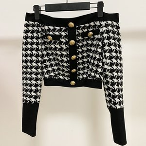Hot Sale HIGH STREET 2020 Designer Stylish Top Women's Slash Neck Lion Buttons Tweed Houndstooth Sweater Top