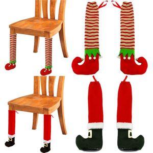 Table de Noël Pied Couverture antidérapants Père Noël Chaussettes Chaise pied de Noël Nouvel An pieds de table couverture Ornement DHB1043
