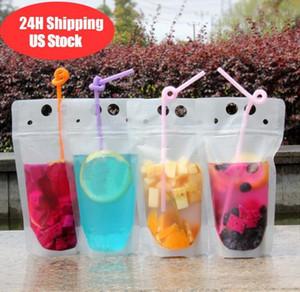 DHL Shipping Limpar Bolsas Bebida Bolsas fosco Stand-up Zipper plástico Beber saco com palha com suporte Reclosable Heat-Proof