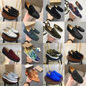 Designer Rot grundiert Männer Frauen echtes Leder-Wildleder Spikes Loafers Kleid Schuhe Luxuxgold Nieten Slippers Wohnungen Brautschuhe 34-47