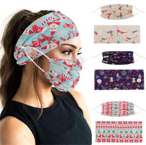 Sport Masque Visage Porte-Bandeaux avec le bouton Masques Masques Serre-têtes imprimés Noël Femmes Yoga Bandes élastiques Accessoires de cheveux Hot D9207