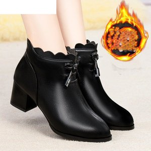 Women ankle boots natural leather upper autumn and winter Pointed toe thick heel Fashion classic Europe women shoes