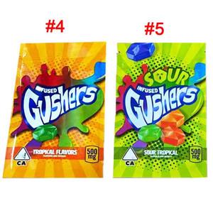 Gushers кислый 500 мг кислые тропические слияния конфеты губки узорные Gushers Mylar Bags Runtz Errlli детская сумка для печенья Ziplock