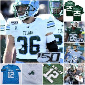 Personnalisé Tulane Green Wave Football Jersey NCAA Carroll Howard James Ramsey J.P. Losman Spears Jha'Quan Jackson Daniels Sample Anderso