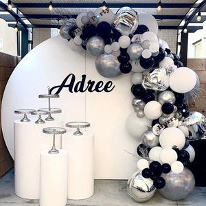 144Pcs 4D Silver Foil Balloon Black White Gray Latex Ballon Garland Arch Set For Kid 1St 30St Birthday Party Decorations Adult T200624