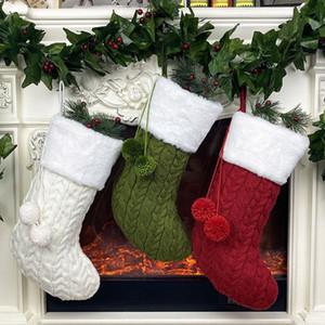 Decoraciones de Navidad bolsa de regalo de Christma calcetines de punto lindo Suministros Medias de la Navidad del partido colgante 3style 20pcs T2I51328