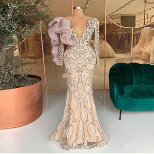 Real Image Evening Dresses Sexy High V-neck Long Sleeves Beads Appliqued Lace Ruffles Luxury Formal Prom Dress Custom Made Long Party Gown