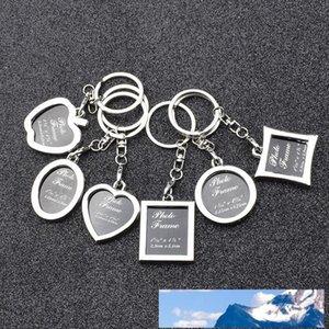 6 modèles cadre photo alliage photo amant locket porte-clés porte-clés pendentifs coeur pour les femmes hommes cadeau d'anniversaire dropship