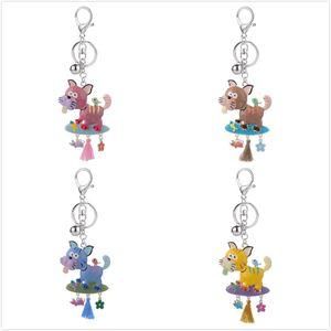 Keyring of New Cute Yellow Cartoon Dog Pendant Keychains for Kids Women Fashion Tassels Alloy Enamel Animal Pet Key Chain Rings