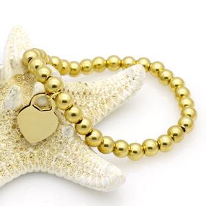 bijoux de mode en acier inoxydable bracelet coeur Peach chaîne perles titane rose femme Bracelet manchette or argent pour les bijoux en acier homme