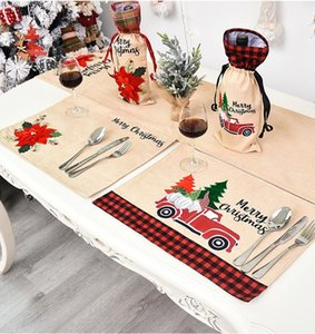 Chirstmas Tischset Tischdecke Rot-Auto Blume gedruckt Tischdecke Dinner Table Mat Chirstmas Dekorationen für Haus Küche Platz Mats DHE106