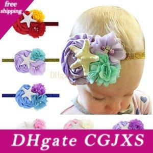 Neonata Mermaid fascia con Starfish fiore dei capretti Headwear con perla Bambino Capelli Bands 6colors scegliere
