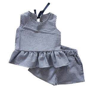 Free Shipping New Arrival Toddler Kids Baby Girls Outfits Clothes Plaid Sleeveless Vest T-shirt+Shorts Set Z0128