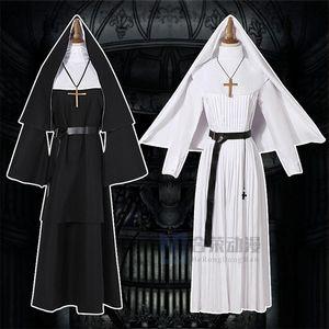 iBixC Anime Helong Geist coswear Nonne NUN Er Lange Cartoon Halloween-Cosplay seltsame Priester Robe weiß Cosplay