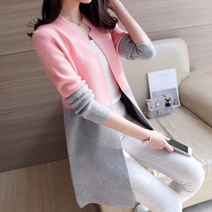 Autumn Knitting Loose Fashion Womens Cardigans Patchwork Long Sleeve Simple Style Female Sweaters Korea Style Coats
