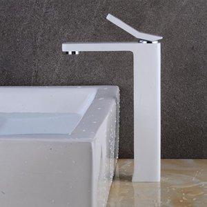 New-Bassin-Hahn Klassische Badezimmer-Hahn-Weiß Mode Painted Messing einzigen Handgriff-einzelnes Loch heißes und kaltes Wasser-Hähne