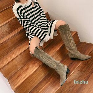 Hot vendita-2019Perfect Parigi Francia Isabel scarpe di camoscio Stivali da cowboy Marant stile Ginocchio-alti stivali di cuoio di cucitura Vitello occidentali di ispirazione
