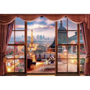JMINE Div 5D Paris Eiffel Tower Window landscape Full Diamond Painting cross stitch kits art Scenic 3D paint by diamonds 0926