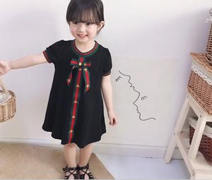 Retail baby girl short sleeve solid dress children's summer princess party dress high quality cotton dress with Ribbon red black white