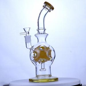 11 inch Amber color beaker bong glass oil burner pipe water bongs 14mm bowl glass percolator bong inline perc bong