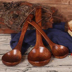 Tofok Grande Wooden colher de sopa punho longo Natural Soup Spoons Saudável Eco-Friendly de madeira Louça Cozinha