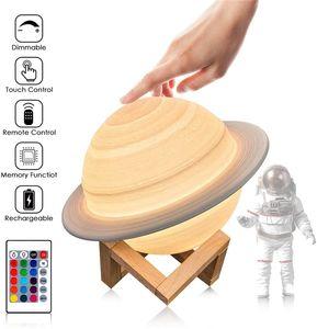 3D Druck Saturn Lampe Home Dekoration Schlafzimmer LED Nachtlicht mit Fernbedienung für Kinder Geschenk Nachtlampe