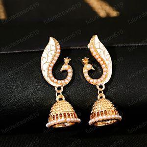 Ethnic Women's Peacock Indian Jewelry Gypsy Vintage Tribe Imitation Pearls Tassel Jhumka Earrings Fashion Jewelry