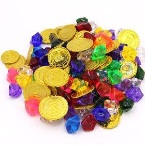Moedas Festa de Halloween do tesouro do pirata plástico Coin Props Gold Coin Para Cosplay Props Crianças Partido Brinquedos Treasure