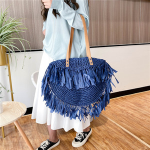 Fashion Bag 2020 New Hawaiian-style straw plaited bag, fringed skirt, personalized large-capacity one-shoulder cross-body bag fo