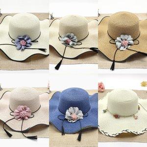 spiaggia in stile coreano larga tesa sole di estate cappello di paglia fiore ondulato marea Sun cappello di paglia balneare di viaggio delle donne