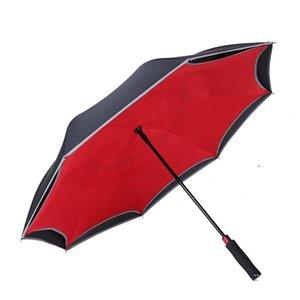 جديدة للنساء التعامل مع عكسي التلقائي قطاع نيون صامد للريح مظلة شبه الدائمة مزدوجة المظلات مستقيم حزام الأمان AysKH