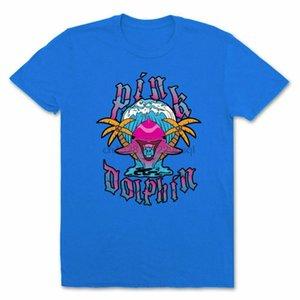 Cennet Kısa Kollu T Shirt Mavi Tee Tişört Bezi Popüler Etiketsiz Tee Shirt Of Pink Dolphin Erkekler Palms