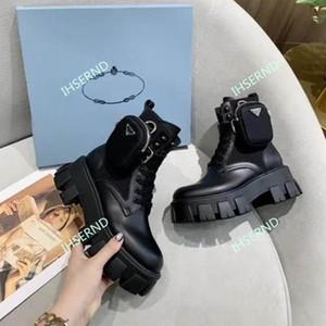 Prada 2020 nuevo cuero de los hombres y de las mujeres de suela gruesa últimos zapatos-botas altas botas de bolsa casuales de pulso triple Martin botas de tamaño 36-40