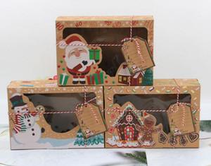24 pcs Nouvelle boîte à papier Kraft Kraft Papier Grand Christmas Candy Box PVC Fenêtre Biscuit Gingerbread Décorations de Noël