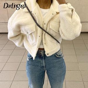Darlingaga Fashion Lamb Wolle Herbst-Winter-Mantel-Frauen-Jacke Fleece Shaggy Warm Kurzjacken Overcoat Einreiher Outwear 200924