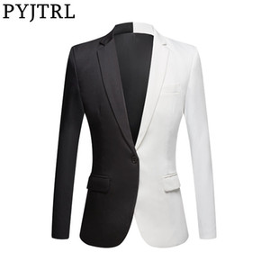 PYJTRL New Fashion White Black Red Casual Coat Men Blazers Stage Singers Costume Blazer Slim Fit Party Prom Suit Jacket 200922