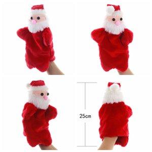 Christmas Handheld toy doll Puppet Cartoon Santa Claus Plush xmas Doll Baby Plush Toys Kid Plush Hand Puppet Toys Sea shipping FFA4323