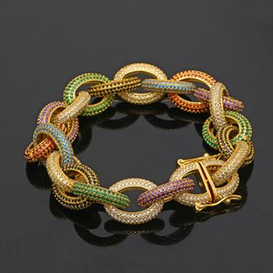 NEW Hotsale Hiphop Jewelry Gold&Silver Plated Colorful CZ Stone Link Chain Bracelet For Men THot Gift