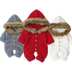 Newborn Boy Winter Jumpsuit Little Girl Clothes Fur Hooded for Girls Knit Jumpsuits Newborn Girl Clothes Autumn Baby Rompers