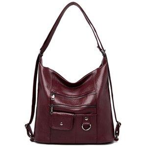 LONOOLISA Multifunction Designer Ladies Large Tote Hand Bags Famous Brand Women Shoulder Bags Soft Leather Bags for Women 2020