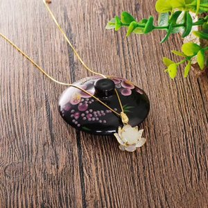Hot Sale The new 2020 online lotus and tian Baiyu pendant S925 sterling silver inlaid with precision to produce the lotus quietly blooming