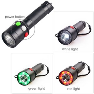 Fast Shipping 3 Type LED Torch Red Green Light Railway Signal Lantern Rechargeable for Camping Hunting Safety Waterproof